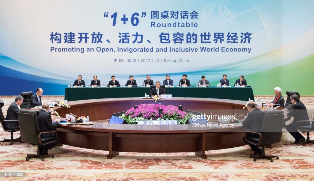 BEIJING, Sept. 12, 2017 -- China's Premier Li Keqiang, together with World Bank Group (WBG) President Jim Yong Kim, International Monetary Fund (IMF) Managing Director Christine Lagarde, World Trade Organization (WTO) Director-General Roberto Azevedo, International Labor Organization (ILO) Director-General Guy Ryder, Organization for Economic Cooperation and Development (OECD) Secretary-General Angel Gurria and Financial Stability Board (FSB) Chairman Mark Carney, hold the Second '1+6' Roundtable in Beijing, capital of China, Sept. 12, 2017.