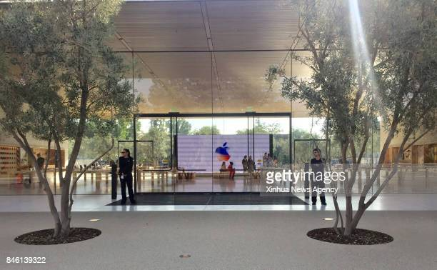 Sept 12 2017 Security personnel are seen inside Apple Park as a special event is held in Cupertino California the United States on Sept 12 2017 Apple...