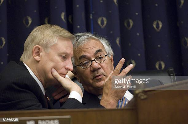 Ranking member Spencer Bachus RAla and Chairman Barney Frank DMass during the House Financial Services hearing with Sheila Bair chairwoman of the...