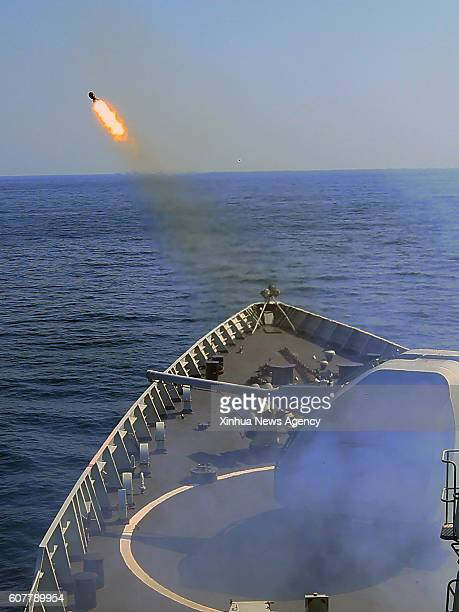 GUANGZHOU Sept 18 2016 Chinese frigate 'Guangzhou' fires depth charge rockets during a ChinaRussia naval joint drill at sea off south China's...