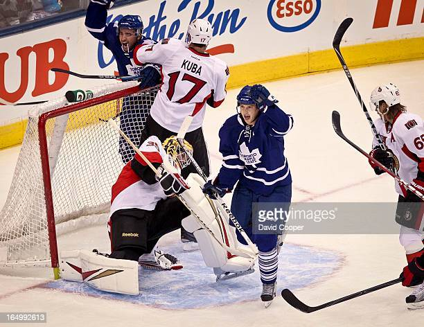 Sept 19 2011 Maple leafs Colby Armstrong celebrates with Nazem Kadri as Armstrong scores his first preseason goal during the First preseason game...