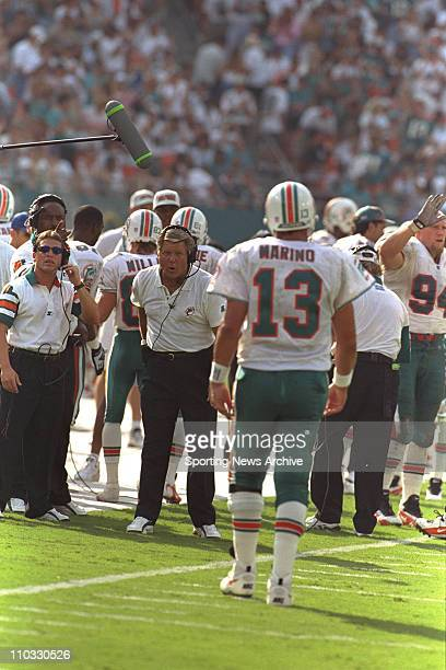 Head coach Jimmy Johnson of the Miami Dolphins during the Dolphins season opener against the New England Patriots at Pro Player Stadium in Miami FL
