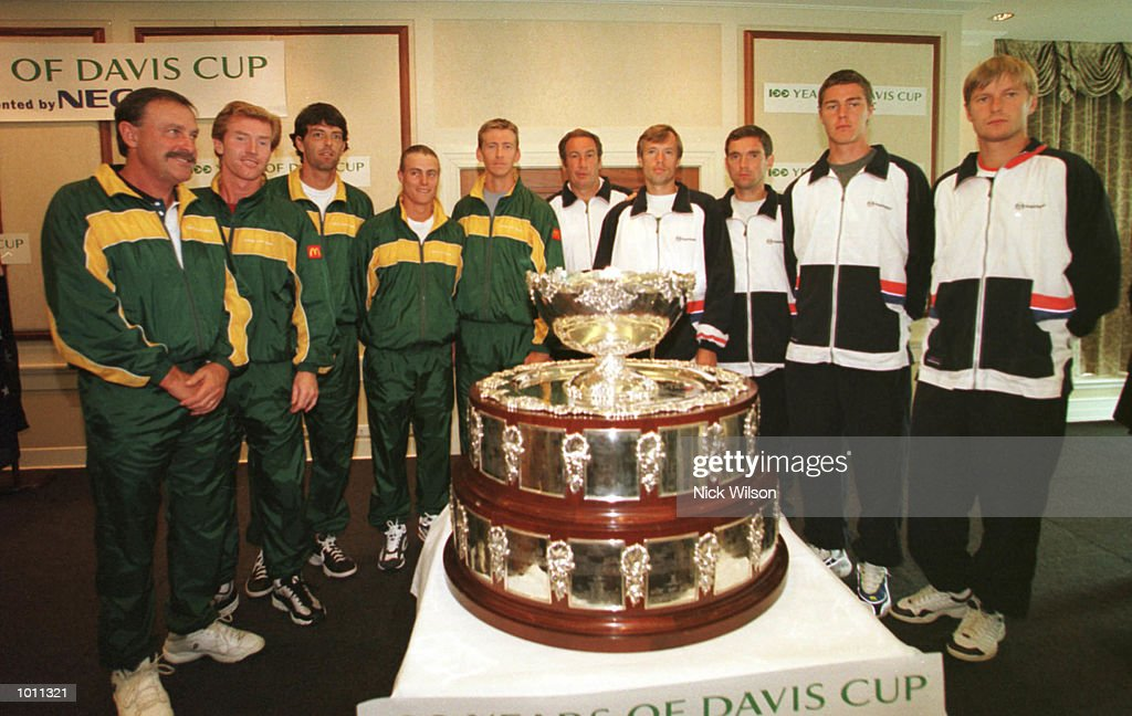 22 Sept 1999 The Australian and the Russian teams pose next to the Davis Cup at the draw before the start of the semifinal starting Friday at ANZ Stadium,Brisbane,Australia. Mandatory Credit: Nick Wilson/ALLSPORT