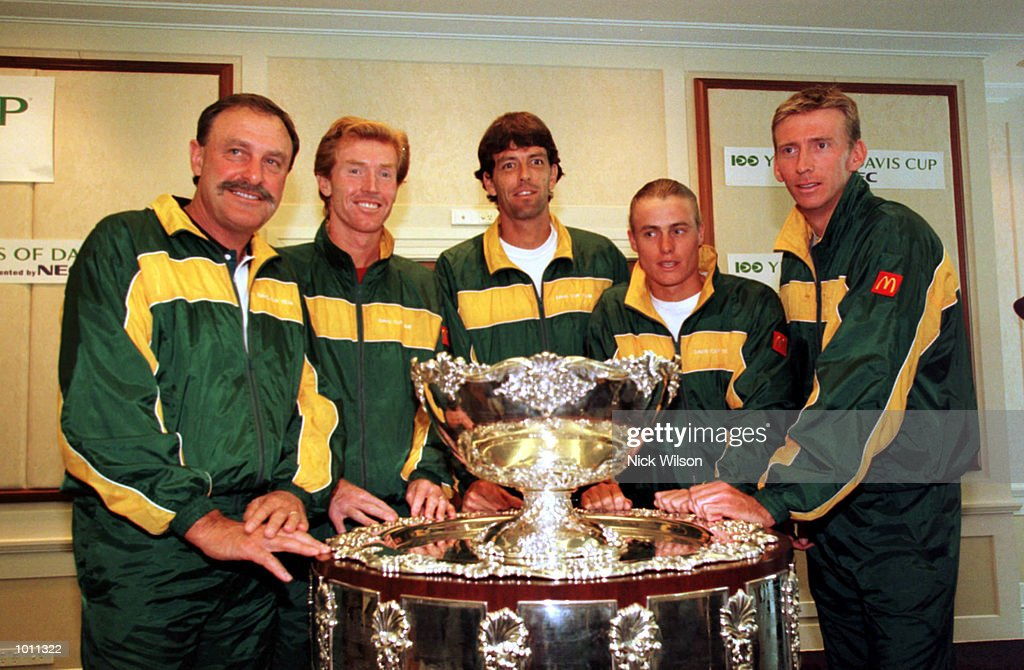 22 Sept 1999 The Australian team pose next to the Davis Cup L_R John Newcombe,Mark Woodforde,Standon Stolle,Lleyton Hewitt and Wayne Arthurs at the draw before the start of the semifinal against Russia starting Friday at ANZ Stadium,Brisbane,Australia.Mandatory Credit: Nick Wilson/ALLSPORT
