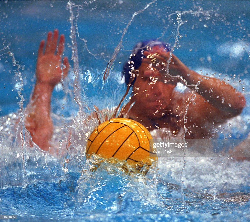 The waterpolo ball sends up a splash, during th USA v Australia preliminary match of the Waterpolo World Cup at the Sydney International Aquatic Centre, Homebush Sydney, Australia. Mandatory Credit: Adam Pretty/ALLSPORT