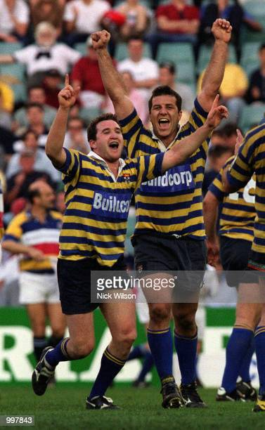LR Chris Malone and Bredan Cannon of Sydney University celebrate after University defeated Eastwood 2720 to win the Sydney Club Rugby Premiership at...