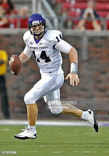 TCU Horned Frogs quarterback Andy Dalton rolls out in the first quarter in a game between the TCU Horned Frogs vs SMU Mustangs at Gerald J Ford...