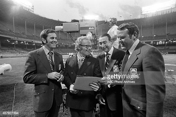 GAME Sept 21 1970 NY Jets at Cleveland Browns Original broadcast team of Don Meredith Howard Cosell and Keith Jackson with Roone Arledge 2nd from...