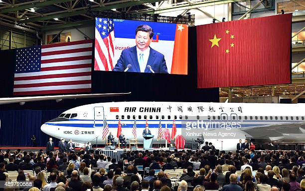 SEATTLE Sept 23 2015 Chinese President Xi Jinping addresses a welcome ceremony held by Boeing Company during his visit to the Boeing Company's...
