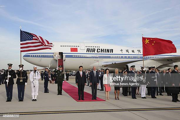 C Sept 24 2015 Chinese President Xi Jinping and his wife Peng Liyuan are welcomed by US Vice President Joe Biden and his wife at Andrews Air Force...