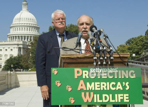 Rep George Miller DCalif and Defenders of Wildlife President Rodger Schlickeisen during a news conference introducing the Protect America's Wildlife...