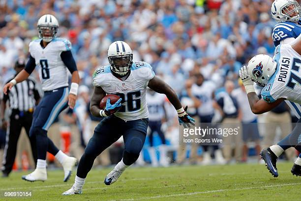 Tennessee Titans running back Antonio Andrews makes a cut up field during the football game between the Indianapolis Colts and the Tennessee Titans...
