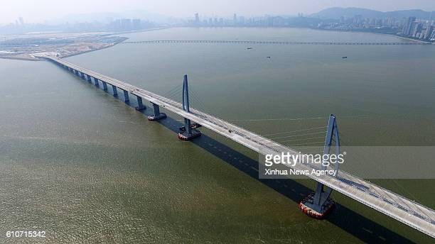 ZHUHAI Sept 27 2016 West artificial island of the world's longest crosssea bridge which connects Zhuhai in Guangdong Province with Hong Kong and...