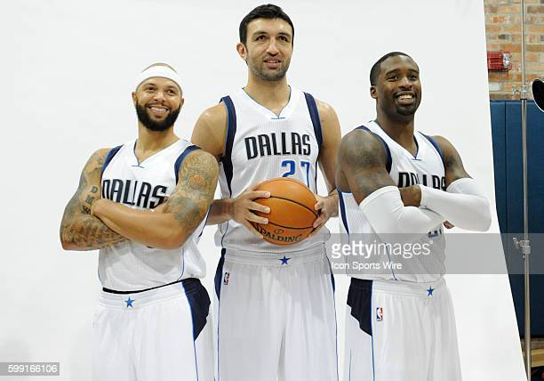 Dallas Mavericks guard Deron Williams Dallas Mavericks center Zaza Pachulia and Dallas Mavericks guard Wesley Matthews pose during NBA Media Day for...