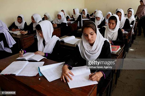 KABUL Sept 28 2016 Afghan girl students attend a class at Surya High School in Kabul Afghanistan on Sept 28 2016