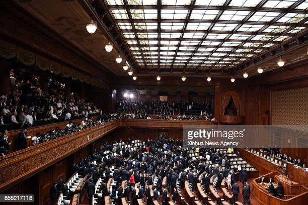 Lawmakers leave after Japanese Prime Minister Shinzo Abe dissolved the House of Representatives in Tokyo Japan Sept 28 2017 Shinzo Abe on Thursday...