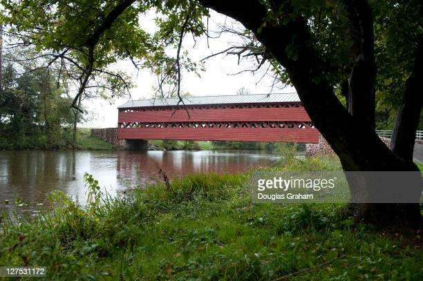 Sauches Covered Bridge on Pumping Station road just outside of Gettysburg Pennsylvania The bridge is a 100foot Town truss covered bridge over Marsh...