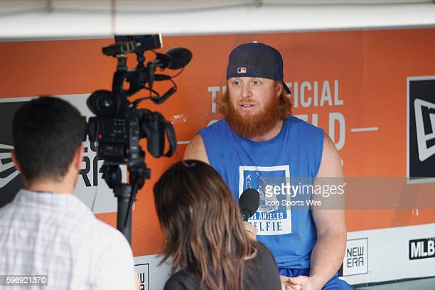 Los Angeles Dodgers Infielder Justin Turner [3086] chats wit the media before the Dodgers and Giants baseball game at ATT Park in San Francisco CA...