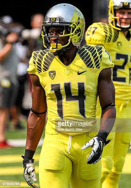 Oregon Ducks defensive back Ifo EkpreOlomu before the game between the Michigan State Spartans and the Oregon Ducks at Autzen Stadium in Eugene Oregon