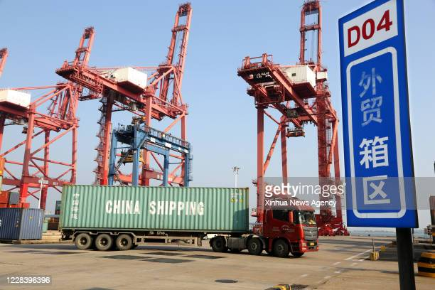 LIANYUNGANG Sept 7 2020 A truck transports containers for export at a container terminal at the Port of Lianyungang in Lianyungang City east China's...