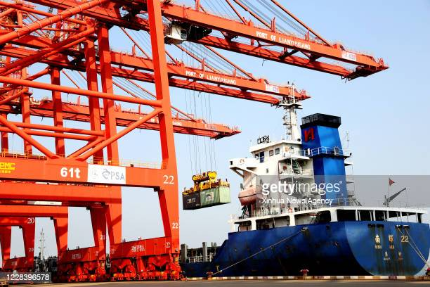 LIANYUNGANG Sept 7 2020 An oceangoing freighter loads containers at a container terminal of Port of Lianyungang in Lianyungang City east China's...
