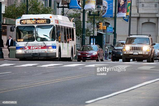 Septa bus stopping on Market Street, Philadelphia, USA