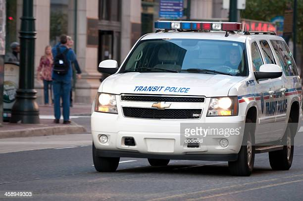 septa transit police car on market street, philadelphia, usa - philadelphia police car stock pictures, royalty-free photos & images