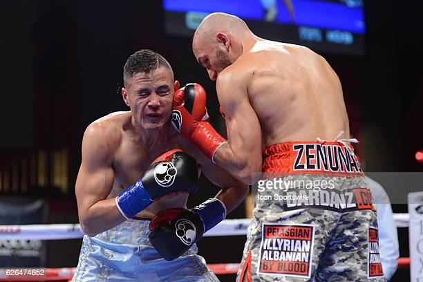 Dardan Zenunaj battles Jose 'Shorty' Salinas during their super featherweight bout at the Foxwoods Fox Theater in Mashantucket Connecticut Jose...