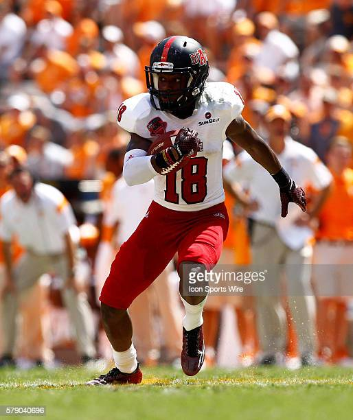 Arkansas State Red Wolves wide receiver Booker Mays in the open field during the second half of play The Tennessee Volunteers defeated the Arkansas...