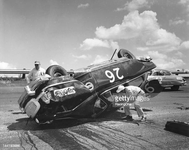 Jimmy Ingram of Jacksonville FL rolled his 1951 Nash on lap 91 of the Southern 500 NASCAR Cup race at Darlington Raceway Interestingly his official...
