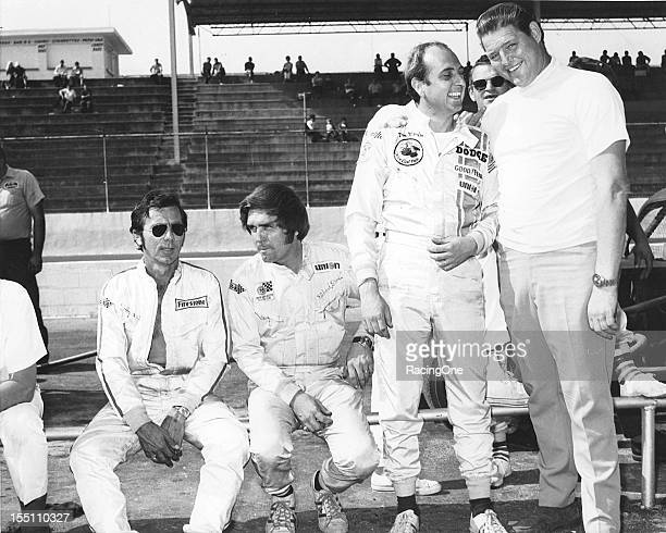 """September 1, 1969: DeWayne """"Tiny"""" Lund joins his fellow NASCAR Cup drivers Bobby Johns, Dick Brooks and Dave Marcis on pit road prior to the start of..."""