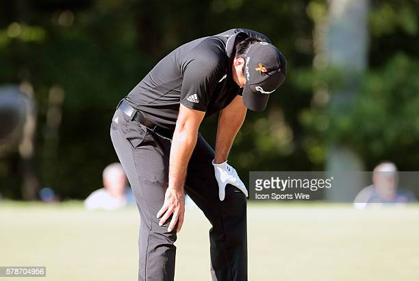 Jason Day not happy with his lie on 13 during the Final Round of the Deutsche Bank Championship at TPC Boston in Norton MA
