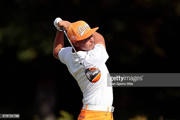 Rickie Fowler hits from the 14th tee during the Final Round of the Deutsche Bank Championship at TPC Boston in Norton MA