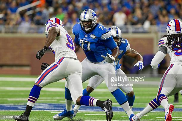 Detroit Lions tackle Cornelius Lucas blocks during game action between the Buffalo Bills and the Detroit Lions during a preseason game played at Ford...