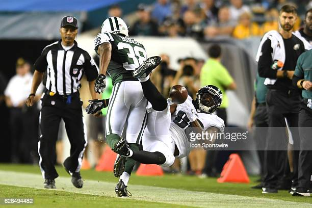 Philadelphia Eagles wide receiver Cayleb Jones attempts a diving catch during a Preseason National Football League game between the New York Jets and...