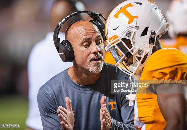 Tennessee Volunteers defensive backs coach Willie Martinez talks to one of his players during a game between the Tennessee Volunteers and Appalachian...
