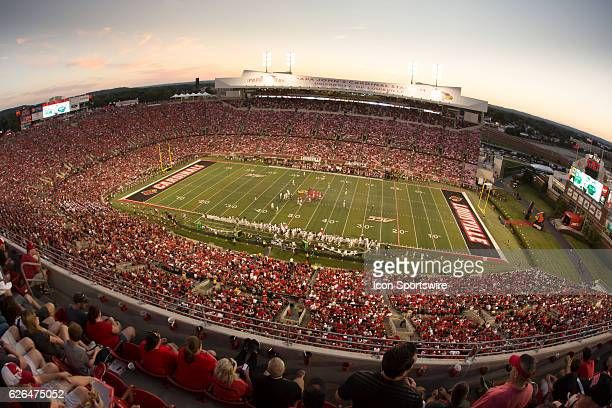 The view from above during the 1st half of the NCAA football game between the Louisville Cardinals and the Charlotte 49ers at Papa John's Cardinal...