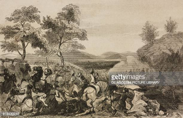 September 1 Battle on the mountains of Poulokkol Foute commanding imperial troops against the two Hotchom Arab princes China engraving from Chine ou...