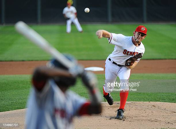 September 1 : Stephen Stasburg delivers a pitch to Portland Sea Dog hitter Oscar Tejeda as he starts for the Harrisburg Senators during what is...