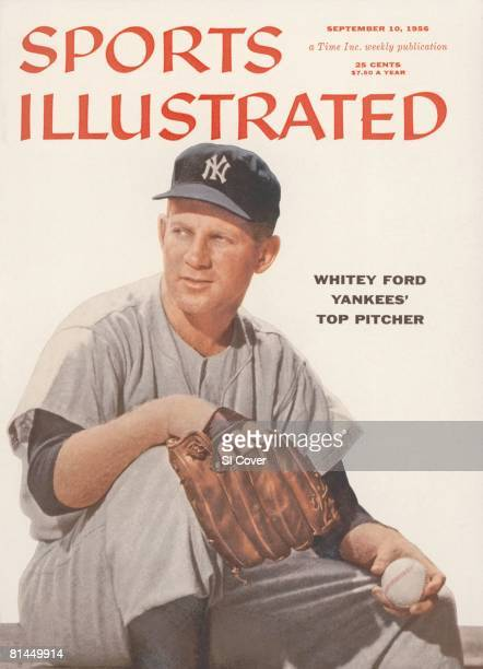 September 10 1956 Sports Illustrated Cover Baseball Portrait of New York Yankees Whitey Ford before game vs Detroit Tigers Detroit MI 8/5/1956