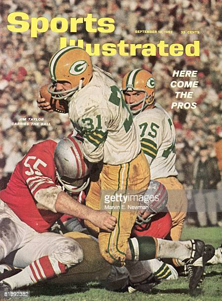 September 10 1962 Sports Illustrated Cover Football Green Bay Packers Jim Taylor and Forrest Gregg in action vs vs San Francisco 49ers San Francisco...