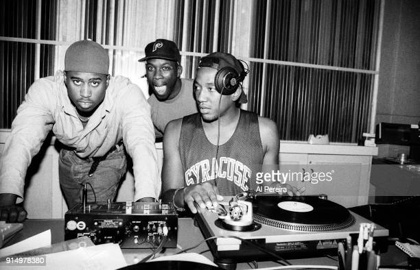 September 10 1991 Ali Shaheed Muhammad Pfife and QTip of A Tribe Called Quest in the recording studio in New York City on September 10 1991