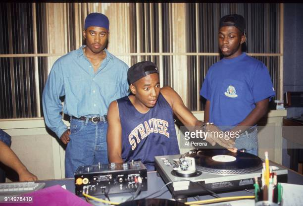 September 10 1991 Ali Shaheed Muhammad QTip and Pfife of A Tribe Called Quest in the recording studio in New York City on September 10 1991