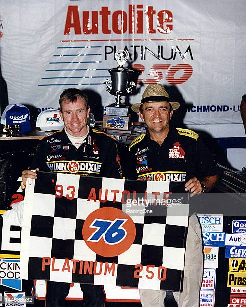 Mark Martin and his car owner Jack Roush in victory lane at Richmond International Raceway after winning the Autolite Platinum 250 NASCAR Busch Grand...