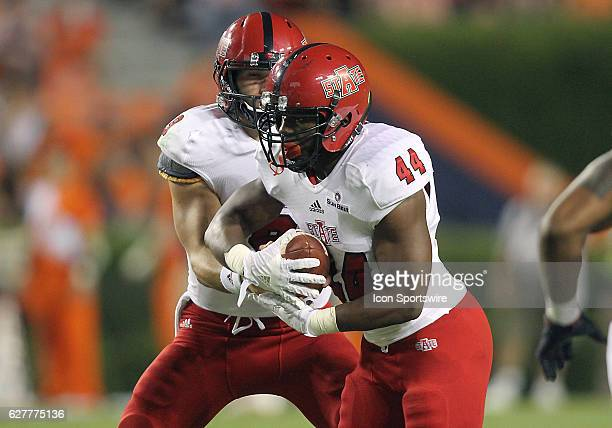 Arkansas State Red Wolves running back Logan Moragne takes the handoff during an NCAA football game between the Auburn Tigers and the Arkansas State...