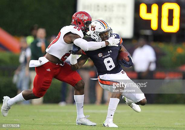 Auburn Tigers wide receiver Tony Stevens catches a pass during an NCAA football game between the Auburn Tigers and the Arkansas State Red Wolves at...