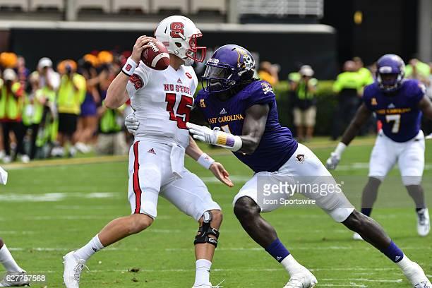 September 10 2016 East Carolina Pirates linebacker Dayon Pratt sacks North Carolina State Wolfpack quarterback Ryan Finley in a game between the East...