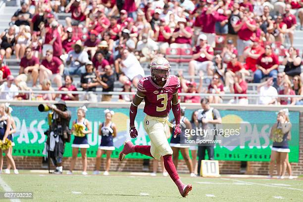 Florida State DB Derwin James celebrates making a play during the game between the Florida State Seminoles and the Charleston Southern Buccaneers at...