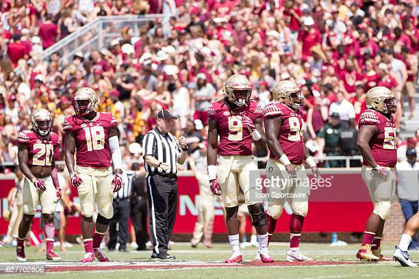 Florida State defensive players DB Trey Marshall LB Ro'Derrick Hoskins DE Josh Sweat DT Derrick Nnadi and DT Fredrick Jones during the game between...