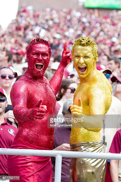 Florida State fans covered themselves in garnet and gold glitter during the game between the Florida State Seminoles and the Charleston Southern...
